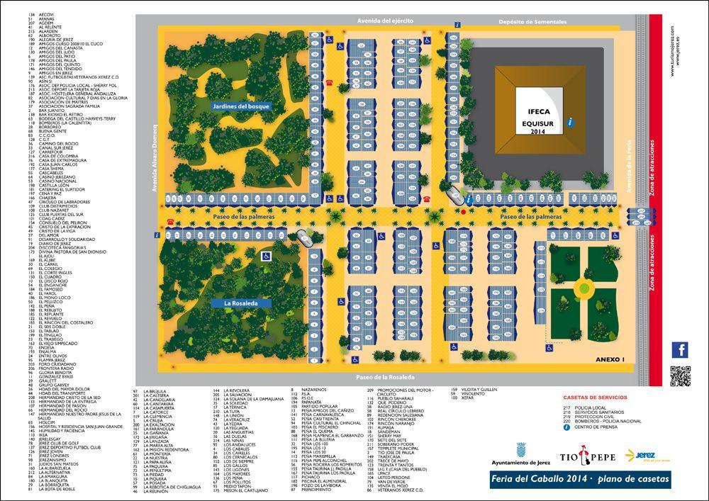 Plano alfabético numéricamente de la Feria de Jerez 2014