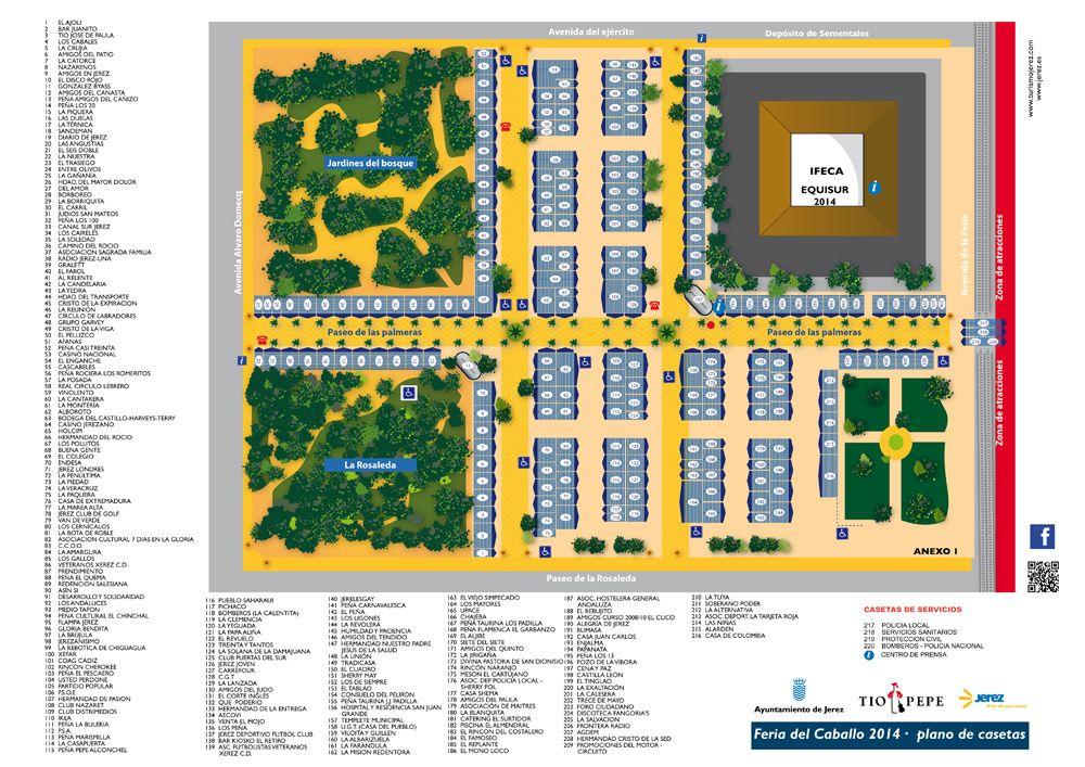 Plano ordenado numéricamente de la Feria de Jerez 2014