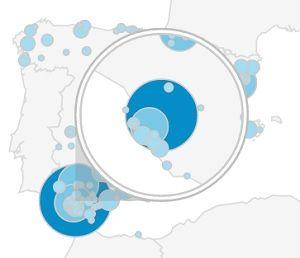 Mapa visitas Mira Jerez 2 primeros meses