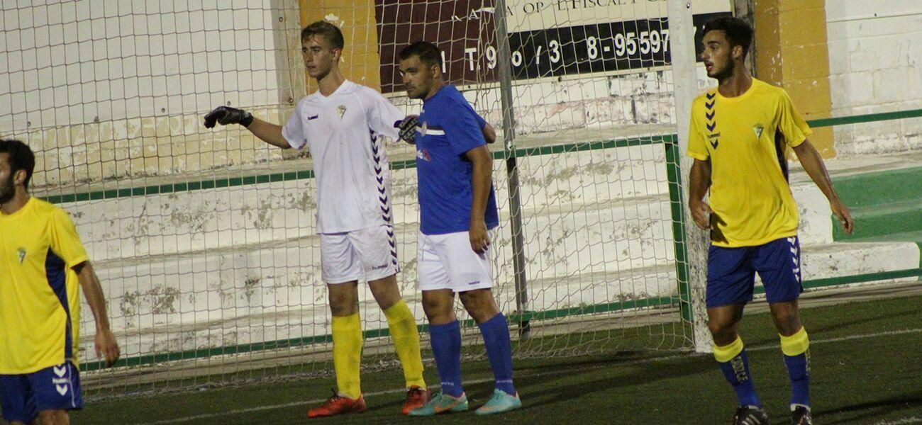 Ayer durante el choque Xerez DFC y Cádiz CF B