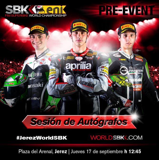 Cartel de la sesión de autógrafos de pilotos Superbike en Jerez. @circuitodejerez