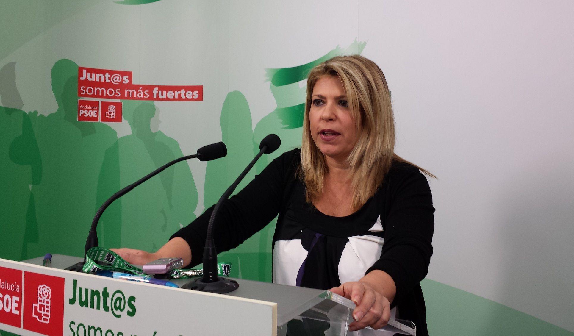 Mamen Sánchez en un mitín del PSOE.