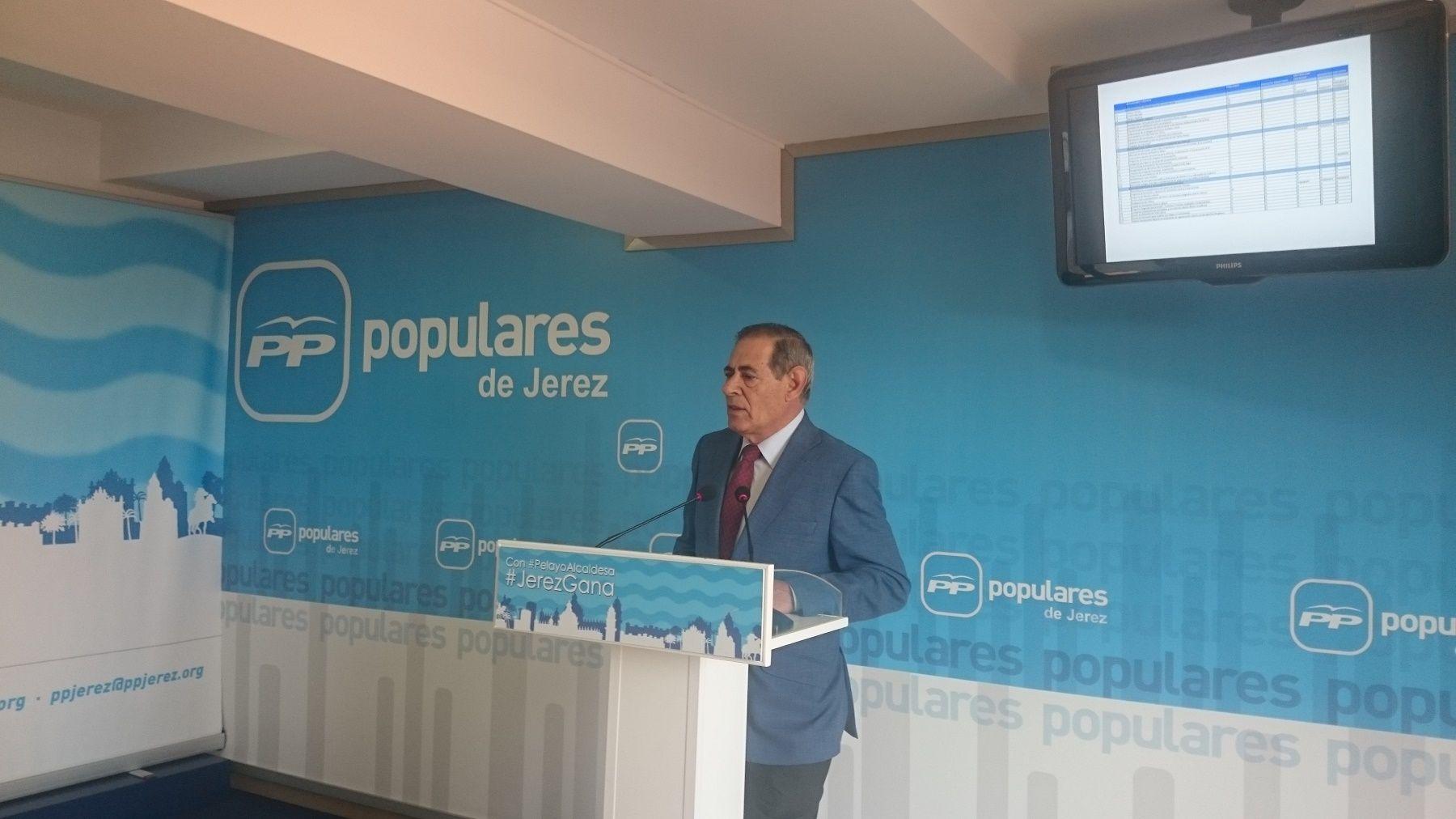 Pepe Galvín en rueda de prensa en la sede del PP de Jerez