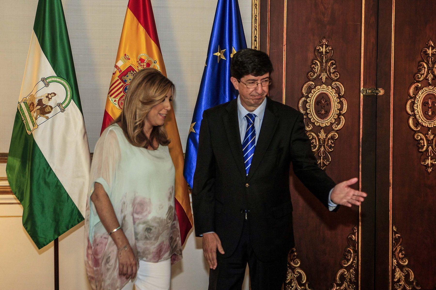 Susana Diaz recibe a Juan Marin, de Ciudadanos. Foto: Manuel Olmedo