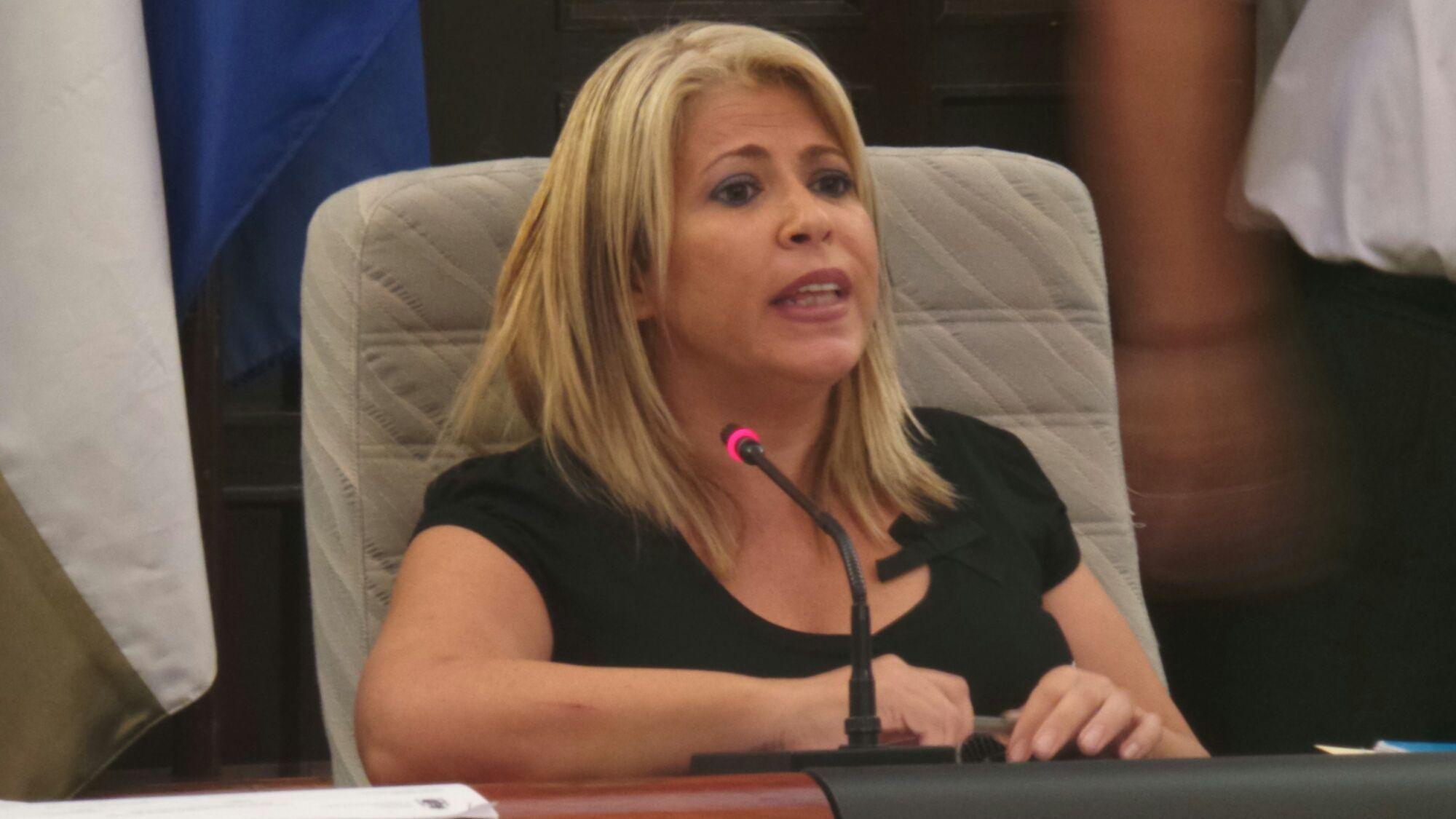 Mamen Sánchez en pleno municipal.