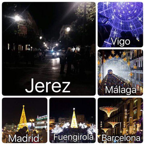 Imagen que nos envía la plataforma de ciudadanos @jerezasalvo denunciando la oscuridad de Jerez.