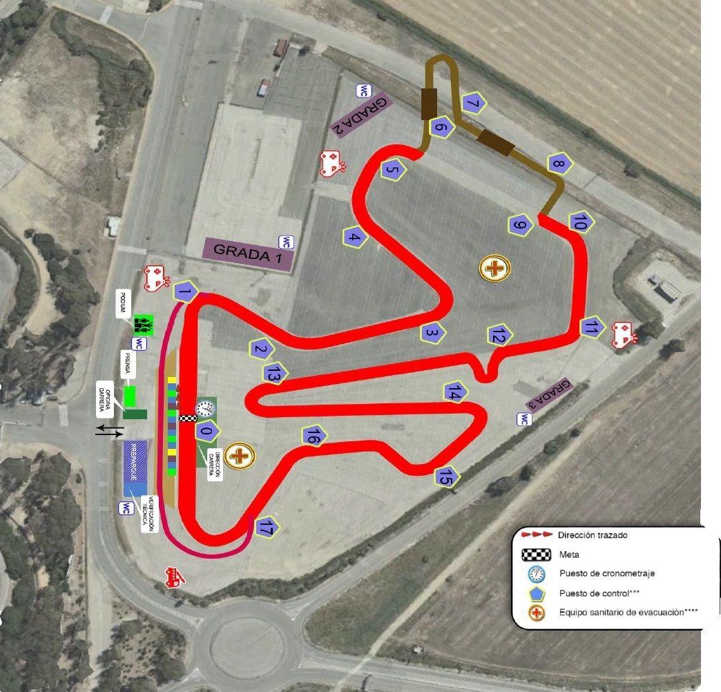 Plano del trazado para este año ubicado en el parking exterior del circuito de Jerez