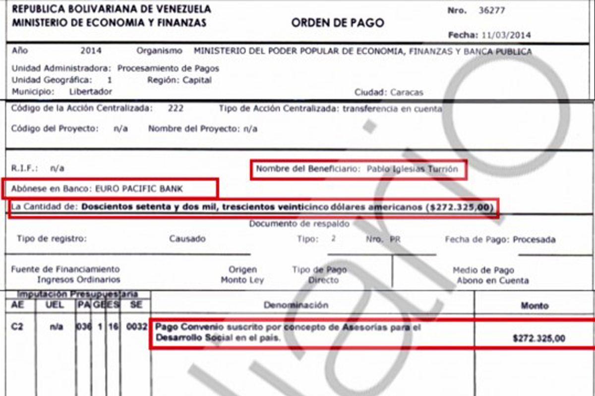 Factura del Banco Euro Pacific Bank cuyo beneficiario es Pablo Iglesias | Publicada por OKDiario
