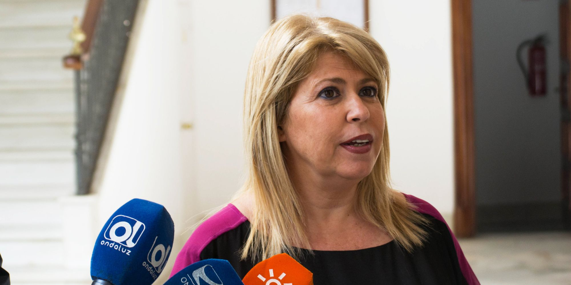 Mamen Sánchez atendiendo a los medios | Pablo Illanas para MIRA Jerez