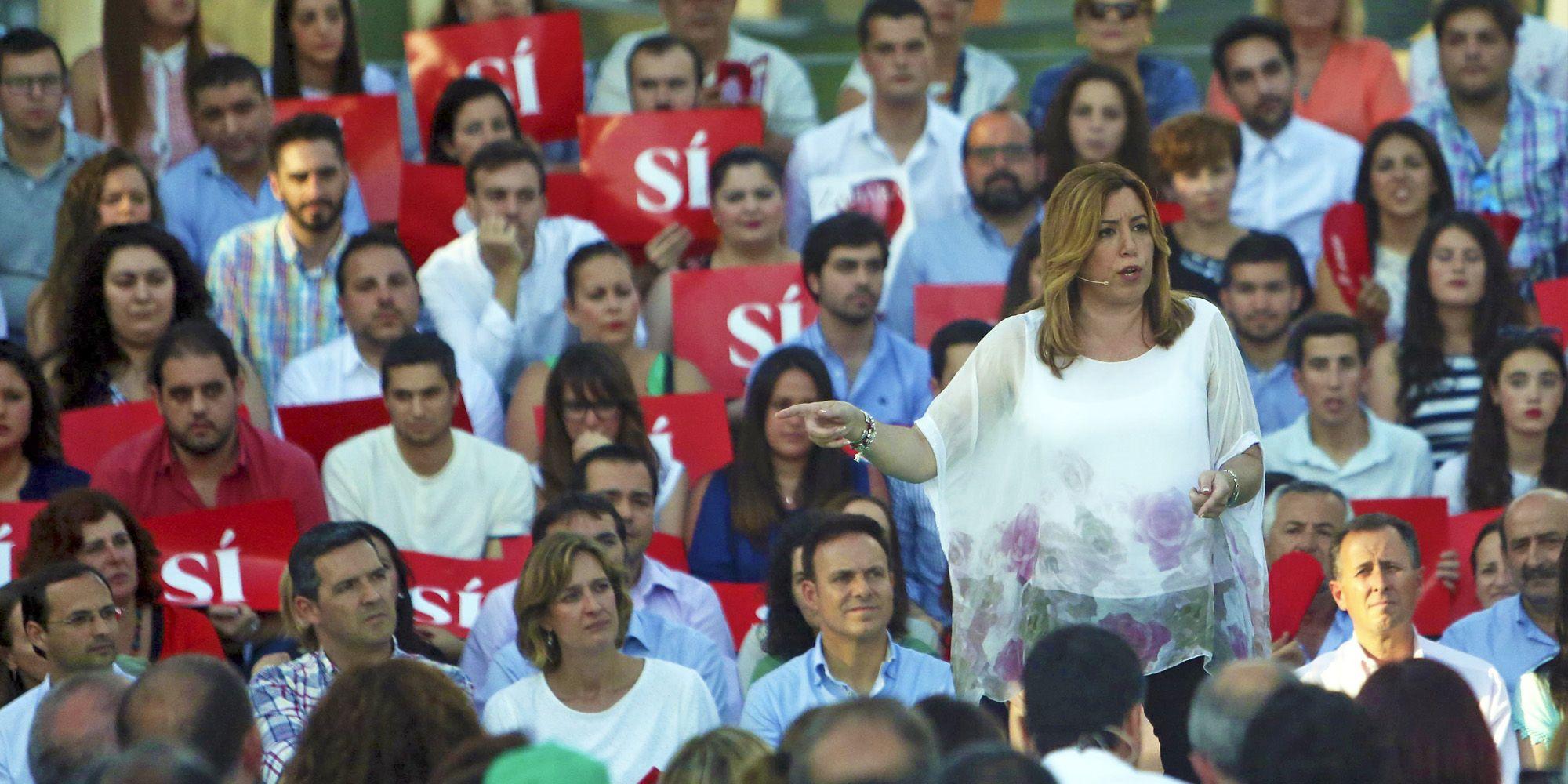 Mamen Sánchez, presidenta del PSOE andaluz, en un momento de su intervención, 6JUN2016   Juan Carlos Corchado para MIRA Jerez