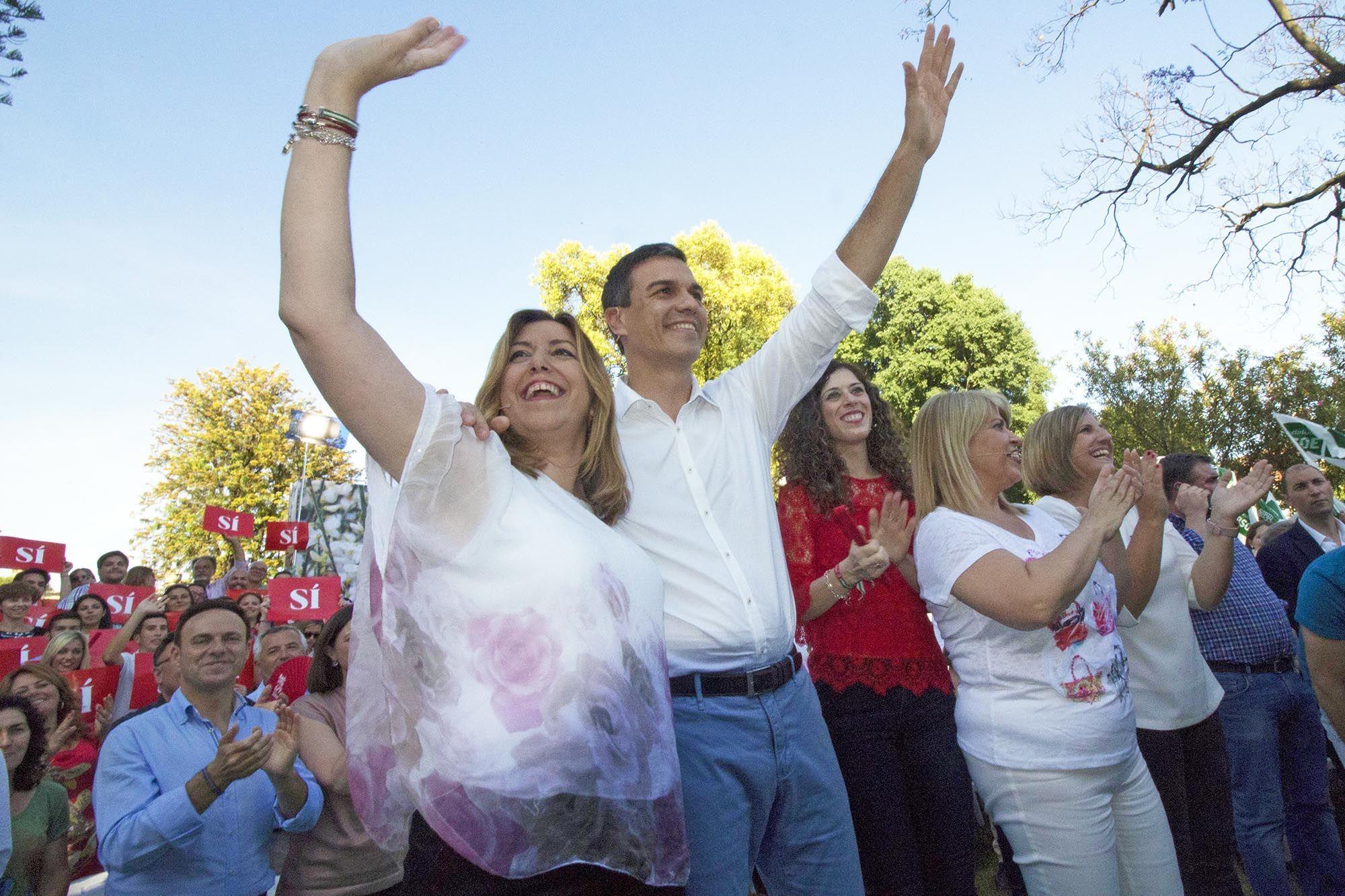 Pedro Sánchez junto a Susana Díaz en mitin de precampaña en jerez, 6JUN2016   Juan Carlos Corchado para MIRA Jerez