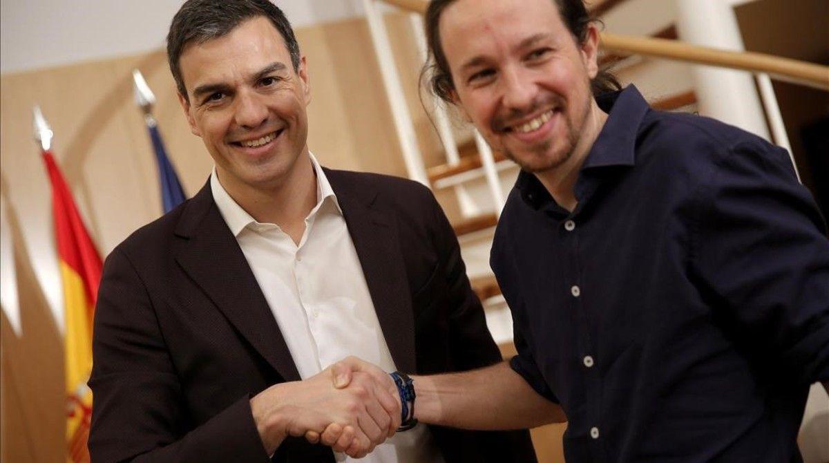 MADRID 30 03 2016 Pedro Sanchez PSOE y Pablo Iglesias Podemos durante la reunion que han mantenido hoy en el Congreso de los Diputados FOTO JOSE LUIS ROCA