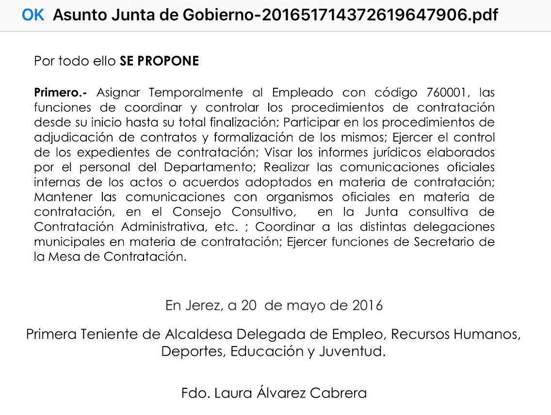 Junta Gobierno Local Jerez 20 Mayo 2016 Jefe de Contrataciones