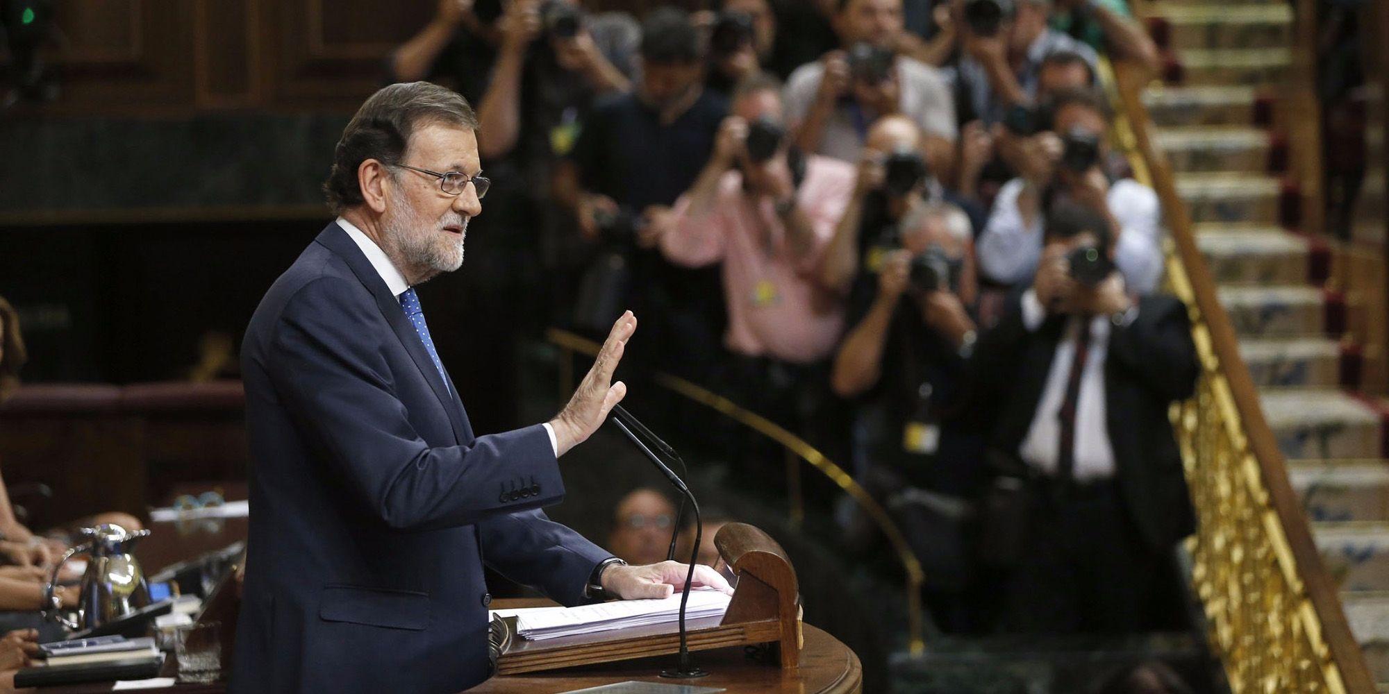 Mariano Rajoy, presidente en funciones, durante su discurso de investidura. - Imagen EFE