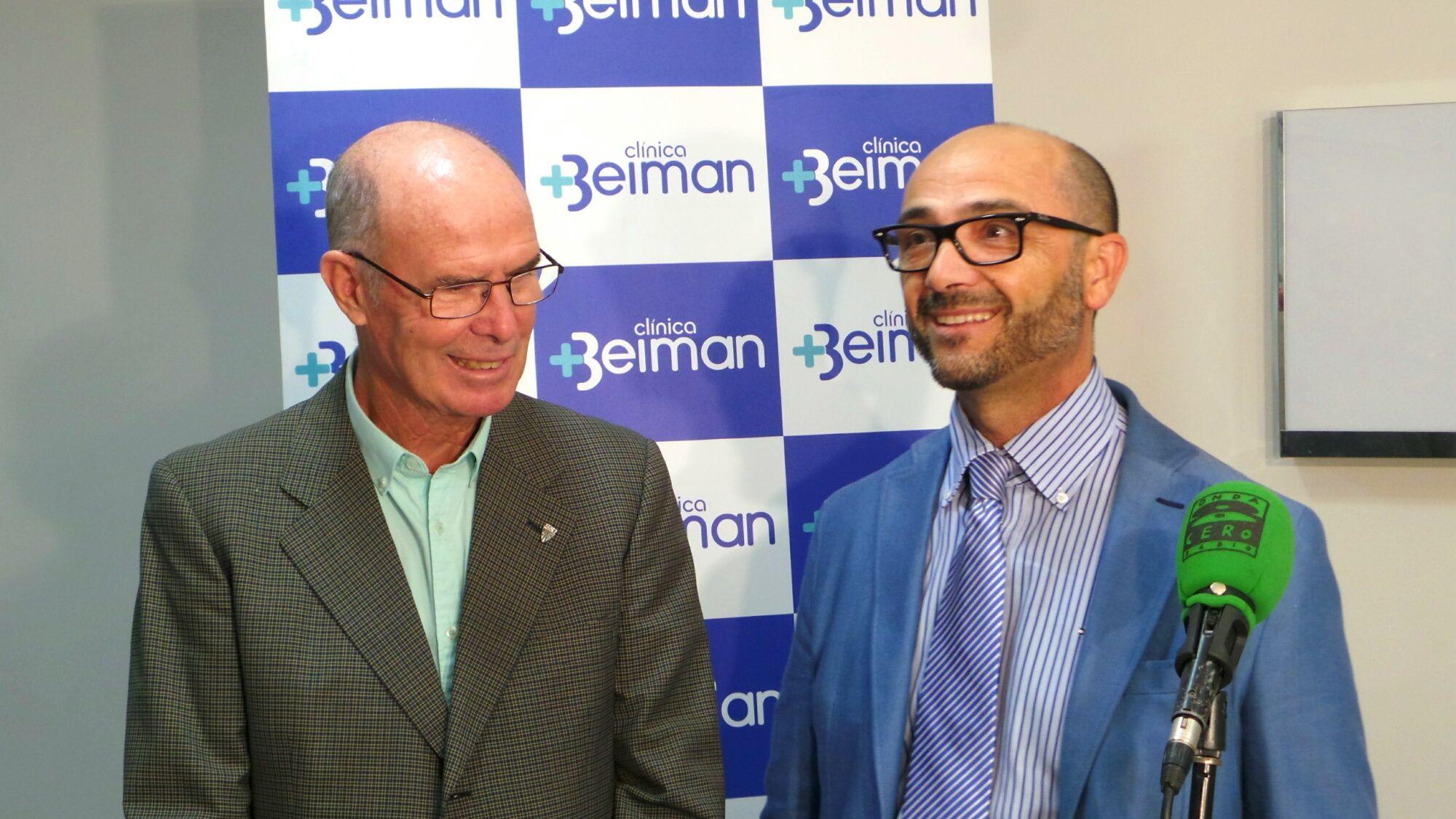 José Ravelo, presidente del Xerez DFC, junto a Benjamín Ruiz, gerente del Grupo Beiman