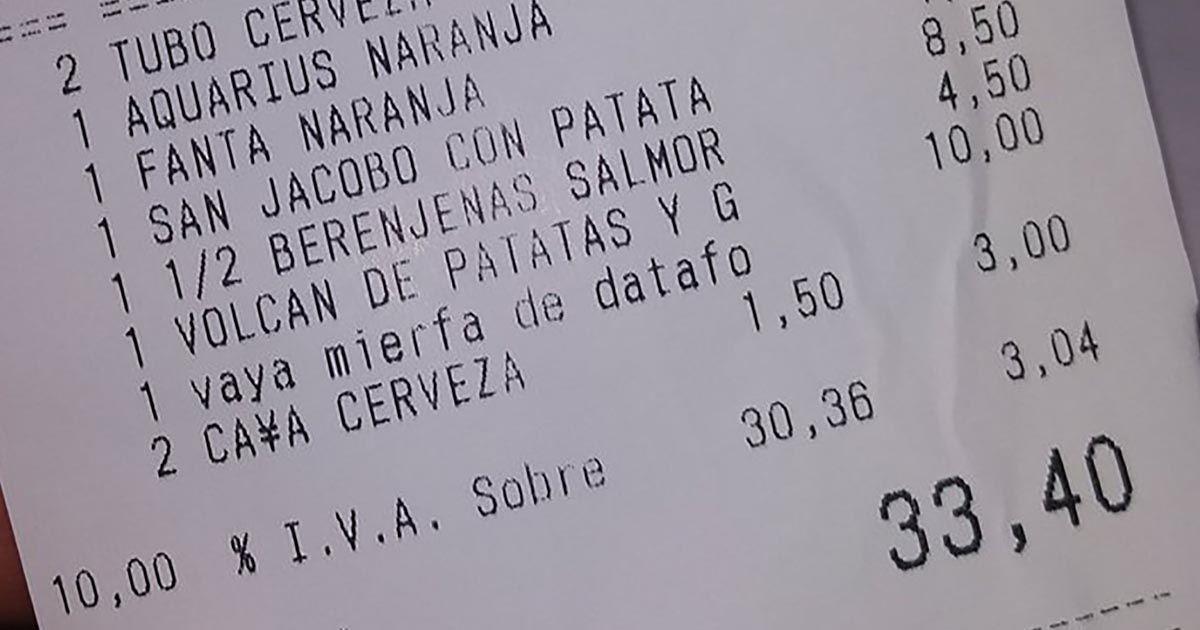 ticket cuenta bar restaurante