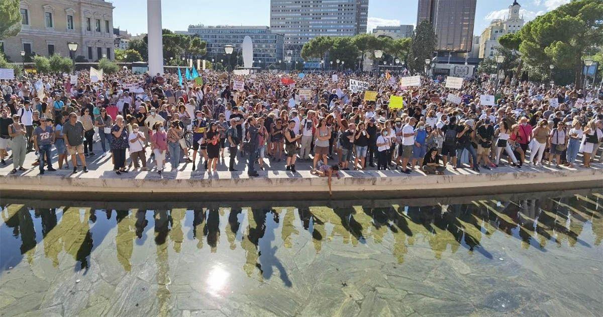 manifestacion en colon madrid miguel bose contra uso mascarilla sin mascarillas gobierno pedro sanchez