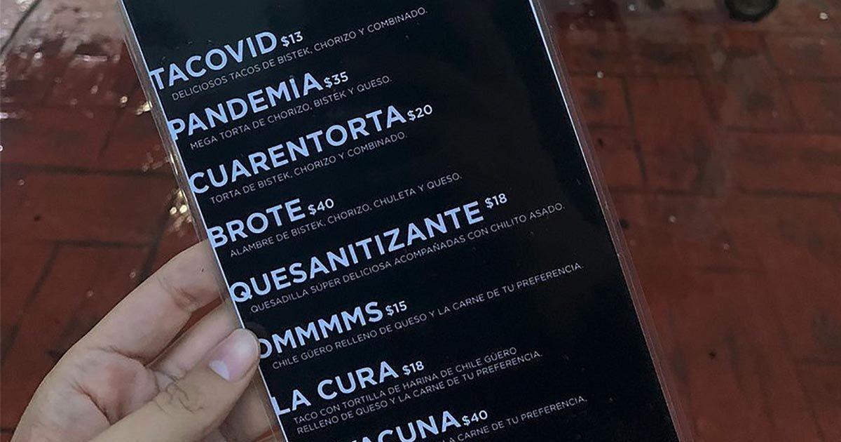 Carta restaurante coronavirus