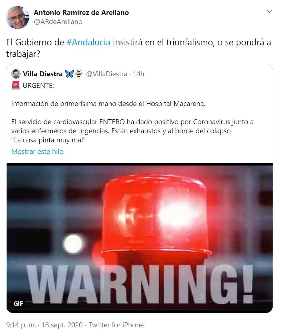 PSOE antonio ramirez de arellano comparte bulo tweet villa diestra