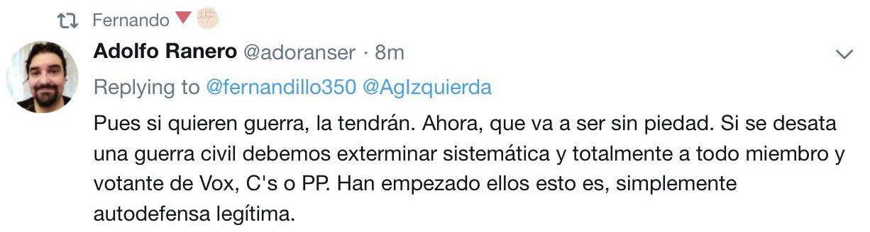 Adolfo Ranero Tweet Podemos Guerra Civil