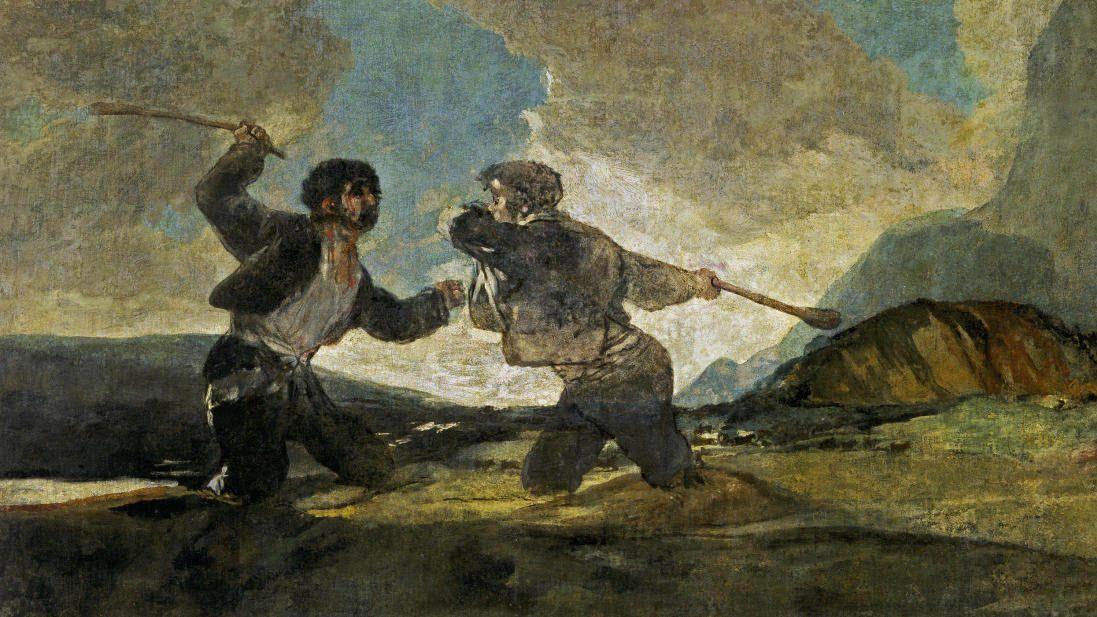 Duelo a garrotazos Goya rebeldes valientes